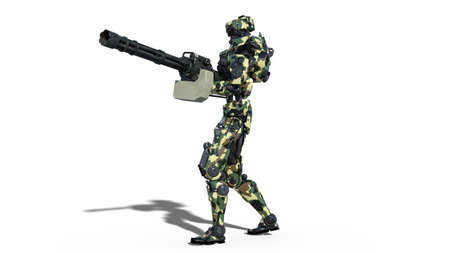 Army robot, armed forces cyborg, military android soldier shooting machine gun isolated on white background, 3D rendering