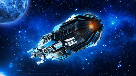 Alien mothership, spaceship in deep space, UFO spacecraft flying in the Universe with planet and stars, rear bottom view, 3D rendering Imagens