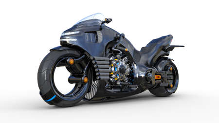 Bike with chrome engine, black futuristic motorcycle isolated on white background, 3D rendering Imagens