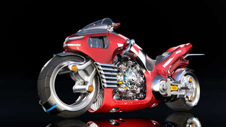 Superbike with chrome engine, red futuristic motorcycle isolated on black background, 3D rendering Stock Photo