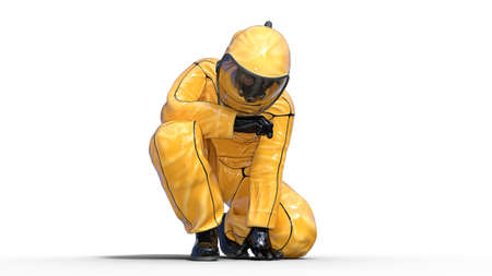 Man wearing protective hazmat suit crouching, human with gas mask dressed in biohazard outfit for chemical and toxic protection, 3D rendering