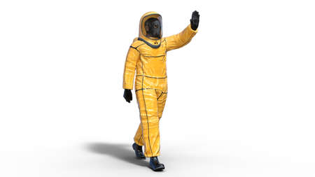 Man wearing protective hazmat suit waving, human with gas mask dressed in biohazard outfit for chemical and toxic protection, 3D rendering