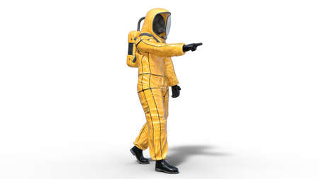 Man wearing protective hazmat suit pointing, human with gas mask dressed in biohazard outfit for chemical and toxic protection, 3D rendering Reklamní fotografie