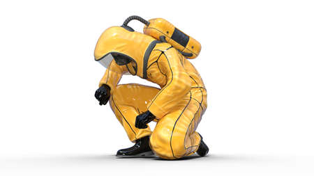 Man in biohazard protective outfit kneeling, human with gas mask dressed in hazmat suit for toxic and chemicals protection, 3D rendering Foto de archivo