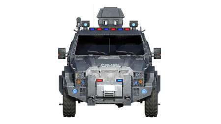 Armored SUV truck, bulletproof police vehicle, law enforcement car isolated on white background, front view, 3D rendering