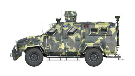 Armored SUV truck, bulletproof army vehicle, camo military car isolated on white background, side view, 3D rendering Reklamní fotografie