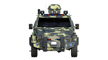 Armored SUV truck, bulletproof army vehicle, camo military car isolated on white background, front view, 3D rendering Reklamní fotografie