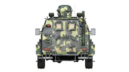 Armored SUV truck, bulletproof army vehicle, camo military car isolated on white background, rear view, 3D rendering Reklamní fotografie