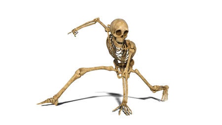 Funny skeleton break dancing on the floor, human skeleton exercising on white background, 3D rendering