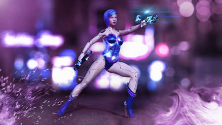 Cyborg girl armed with guns, female battle robot shooting, sci-fi android woman in the night city, 3D rendering Archivio Fotografico - 117941218