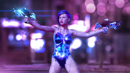 Cyborg girl armed with guns, female battle robot shooting, sci-fi android woman on the night city street, 3D rendering