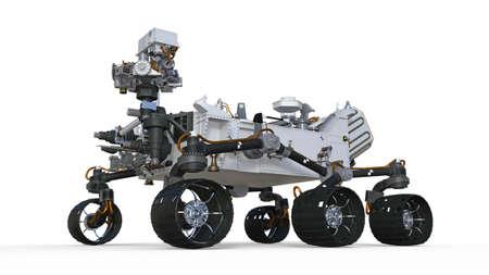 Mars Rover, robotic autonomous vehicle isolated on white background, 3D illustration