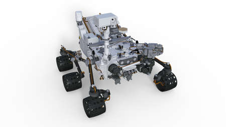Mars Rover, robotic space motor vehicle isolated on white background, 3D illustration