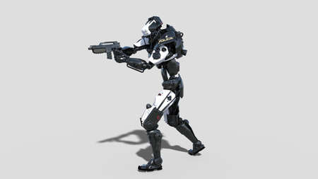 Police robot, law enforcement cyborg, android cop shooting gun isolated on white background, 3D rendering