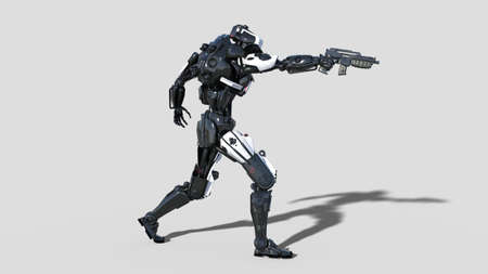 Police robot, law enforcement cyborg, android cop shooting gun on white background, 3D rendering