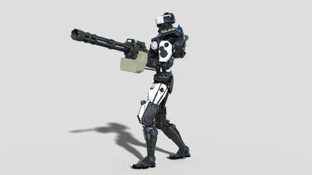 Police robot, law enforcement cyborg, android cop shooting machine gun isolated on white background, 3D rendering