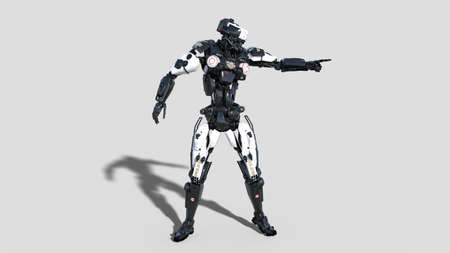 Police robot, law enforcement cyborg pointing, android cop isolated on white background, 3D rendering Reklamní fotografie