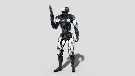 Police robot, law enforcement cyborg, android cop holding gun isolated on white background, 3D rendering