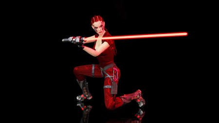 Redhead warrior girl with sci-fi laser sword, braided woman with futuristic saber weapon isolated on black background, 3D rendering