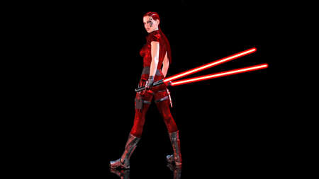 Redhead warrior girl with sci-fi light swords, braided woman with futuristic laser saber weapon isolated on black background, 3D rendering Stock Photo