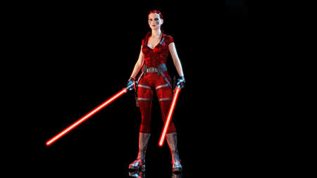 Redhead warrior girl with two futuristic light swords, braided woman with sci-fi laser saber weapon isolated on black background, 3D rendering Stock Photo