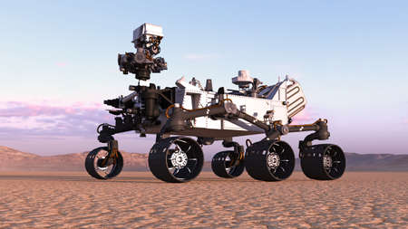 Mars Rover, robotic space autonomous vehicle on a deserted planet with hills in background, 3D rendering