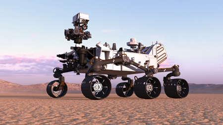 Mars Rover, vehículo autónomo espacial robótico en un planeta desierto con colinas en el fondo, 3D rendering Foto de archivo