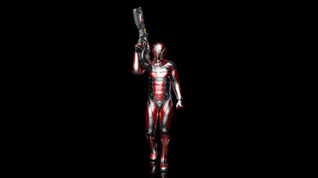 Futuristic android soldier in bulletproof armor, military cyborg armed with sci-fi rifle gun walking on black background, 3D rendering