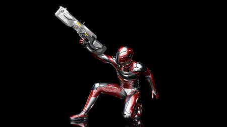 Futuristic android soldier in bulletproof armor, military cyborg armed with sci-fi rifle gun crouching and shooting on black background, 3D rendering Stock Photo