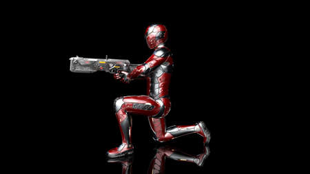 Futuristic android soldier in bulletproof armor, military cyborg armed with sci-fi rifle gun kneeling and shooting on black background, 3D rendering