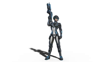 Android female soldier, military cyborg woman armed with rifle standing on white background, sci-fi girl, 3D rendering