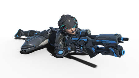 Female android soldier, military cyborg woman armed with rifle laying on white background, sci-fi girl, 3D rendering