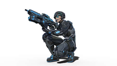 Android female soldier, military cyborg woman armed with rifle shooting on white background, sci-fi girl, 3D rendering