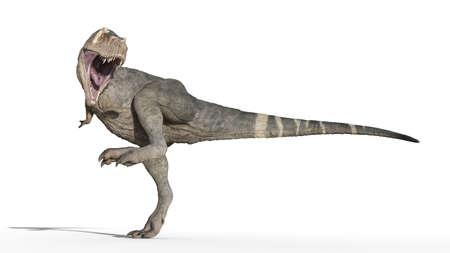 T-Rex Dinosaur, Tyrannosaurus Rex reptile stomping, prehistoric Jurassic animal isolated on white background, 3D illustration Stockfoto
