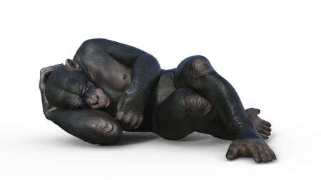 Chimpanzee monkey, primate ape sleeping, wild animal isolated on white background, 3D illustration