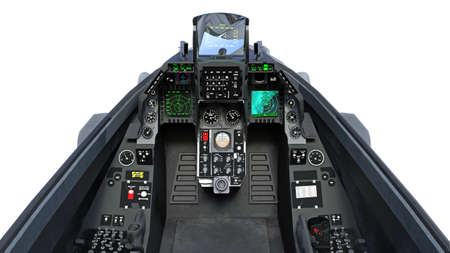 Cockpit of fighter jet plane in flight, military aircraft, army airplane isolated on white background, 3D rendering Stock Photo