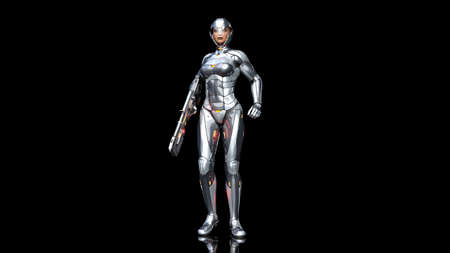 Futuristic android soldier woman in bulletproof armor, military cyborg girl armed with sci-fi rifle gun standing on black background, 3D rendering