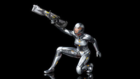 Futuristic android soldier woman in bulletproof armor, military cyborg girl armed with sci-fi rifle gun crouching and shooting on black background, 3D rendering Banco de Imagens