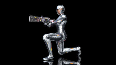 Futuristic android soldier woman in bulletproof armor, military cyborg girl armed with sci-fi rifle gun kneeling and shooting on black background, 3D rendering