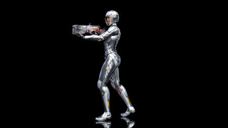 Futuristic android soldier woman in bulletproof armor, military cyborg girl armed with sci-fi rifle gun walking and shooting on black background, 3D rendering Banco de Imagens