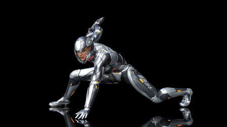 Futuristic android soldier woman in bulletproof armor, military cyborg girl armed with sci-fi rifle gun crouching on black background, 3D rendering Banco de Imagens