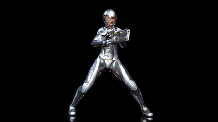 Futuristic android soldier woman in bulletproof armor, military cyborg girl armed with sci-fi rifle gun shooting on black background, 3D rendering Archivio Fotografico - 122381413