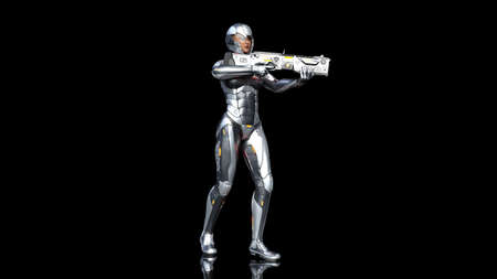 Futuristic android soldier woman in bulletproof armor, military cyborg girl armed with sci-fi rifle gun standing and shooting on black background, 3D rendering 写真素材