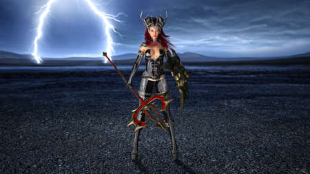 Ancient warrior queen, female fantasy fighter in battle armor with medieval weapons and shield, 3D rendering