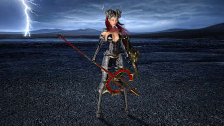 Ancient warrior queen, female fantasy fighter in battle armor with medieval spear and shield, 3D rendering