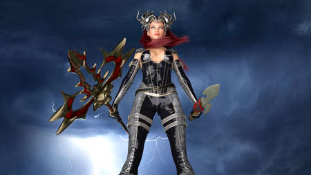 Ancient warrior queen, female fantasy fighter in battle armor with medieval spear and sword, 3D rendering