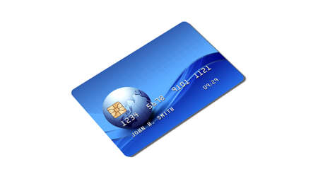 Credit card, plastic payment card with chip isolated on white background, side view, 3D rendering