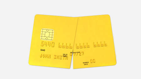 Credit card cut in half, gold plastic payment card isolated on white background, front view, 3D rendering
