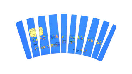 Credit card cut into pieces, blue plastic payment card isolated on white background, front view, 3D rendering