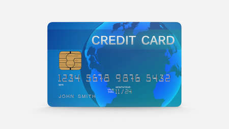 Credit card, blue plastic payment card isolated on white background, front view, 3D rendering